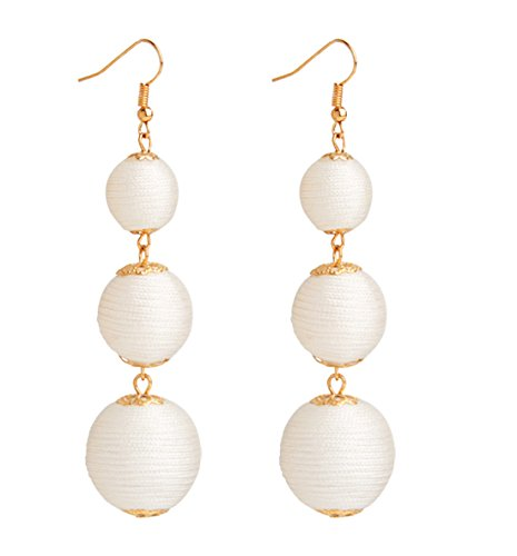 VK Accessories Thread Ball Dangle Earrings Thread Dangle Earrings Soriee Drop Earrings Beaded Ball Ear Drop White