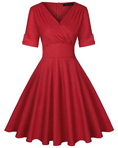 MINTLIMIT Damen Vintage Kleid Cocktailkleid Abendkleid Rockabilly Kleid Taillenbetontes Kleider(Einfarbig Rot,Größe XXL)