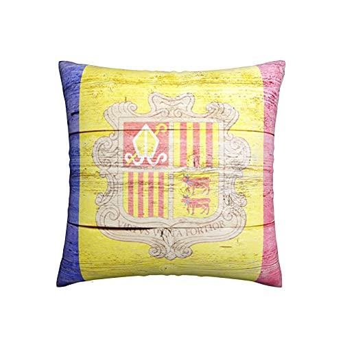 Kissenbezug 45X45, Andorra Flagge Holz Hintergr& Kissenhülle Strapazierfähigem Kissenbezüge Stilvoll Dekokissen Für Hotel Auto Schlafzimmer