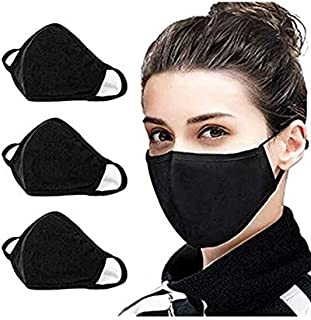 3 Pcs Reusable Adjustable Face Mask - Breathable Comfort, Fully Machine Washable, Black Face Masks for Men and Women Home Office Work Outdoors