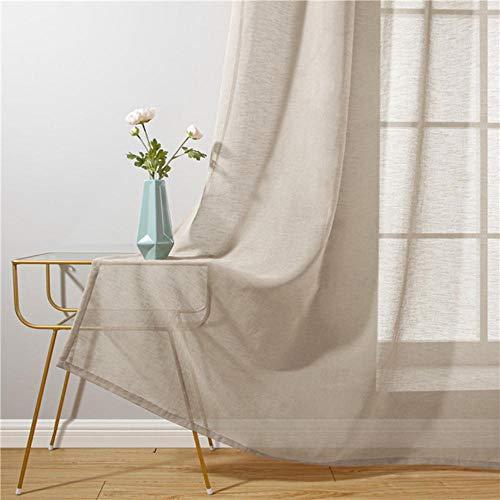 Baumwoll Leinen Tüll Vorhänge für Wohnzimmer Transparente Fenstervorhänge für Schlafzimmer Cafe Einfarbige Cortina Fenster Beige Weiß-Khaki, B250XH270cm, Belgien, 5 Pull Plissee Tape