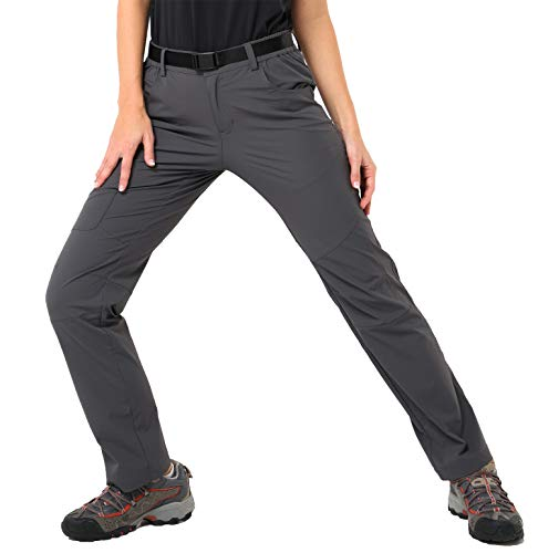 MIER Women's Outdoor Quick Dry Hiking Pants Lightweight Cargo Pants with Elastic Waist, Water Resistant and Stretch, Graphite Grey, XXL