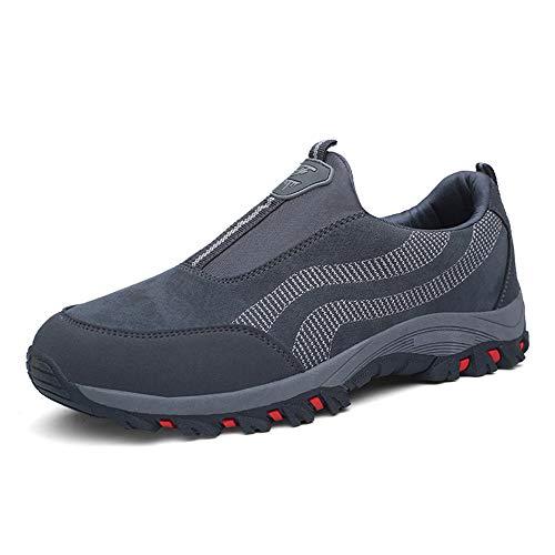 PAMRAY Zapato Hombre de Deportivos Fitness para Caminar Running Trailing Loafer Calentar Suede Zapatillas Slip on Breathable Negro Azul Gris Gris 43