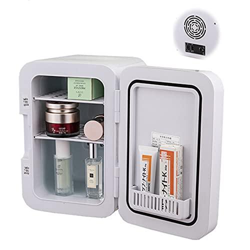 Mini refrigerador personal portátil, blanco, se puede enfriar o calentar, y proporciona un espacio de almacenamiento compacto, puede almacenar productos para el cuidado de la piel, refrigerador DC 12V