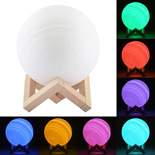 NCCZ 15cm Patted 3D Print Jupiter Lamp, USB Charging 7-Color Changing Energy-saving LED Night Light with Wooden Holder Base Home Decoration Lamp