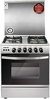 Nikai 60 X 60 cm, 4 Gas Burners Free Standing Gas Cooking Range, Silver With Glass Lid on Top - U6070EG, 1 Year Warranty