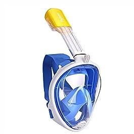 Flyboo Maschera da Snorkeling,Maschera Subacqueacon con Visuale Panoramica 180° Design Pieno Facciale e Compatibile con Videocamere Sportive Maschera per Immersioni per Adulti Bambini