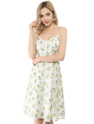 Allegra K Women's Spaghetti Strap Summer Midi Floral Print Dress X-Small White