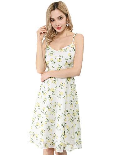 Allegra K Women's Summer Spaghetti Strap Aline Dress Smocked Floral Sundress White S (US 6)