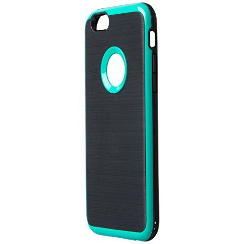 Ultratec Funda protectora de TPU / carcasa para iPhone 6 con diseño de contrastes y borde de color, negro/verde oscuro
