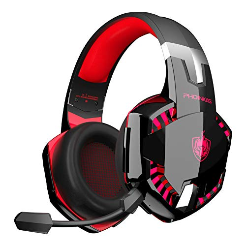 PHOINIKAS G2000 Wired Gaming Headset for PS4, PS5, Xbox One, PC, Over Ear Headphones with Detachable Noise Cancelling Mic & One-Click 7.1 Sound, Bluetooth Wireless Headset for Phone, Up to 12h (Red)
