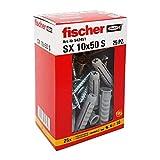 Fischer 25 Tasselli SX con vite, 10 x 50 mm, per Muro pieno e Mattone Forato, 542451