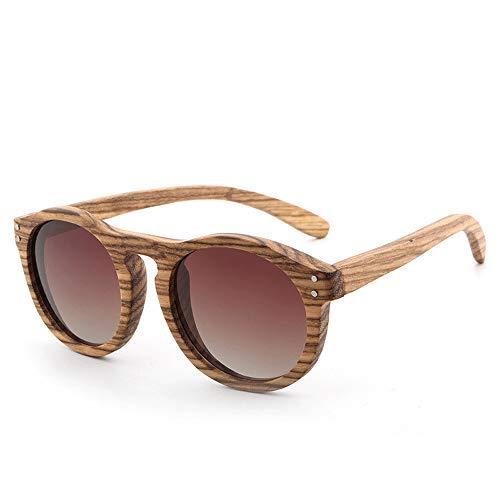 Yeeseu Gafas de sol retro gafas de sol redondas de madera recubiertos piernas de madera Hombres Mujeres polarizó las gafas de moda (Color: 01Gray, Tamaño: Libre) Ciclismo, Correr, Pesca, Pesca, Sender