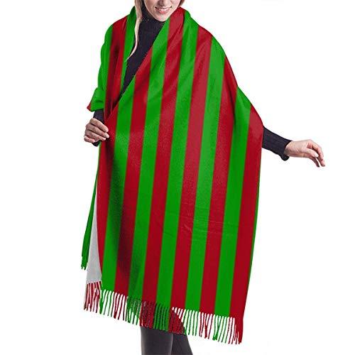 AOOEDM Navidad Rojo Oscuro Y Verde Media Rayas Verticales Chal Abrigo Invierno Cálido Bufanda Capa Grande Suave Y Acogedor Bufanda De Cachemira Abrigo Womans Cálido Mantón Estola