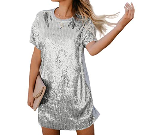CuteRose Women's Party Short Sleeves Sparkly Sequin Stitchin