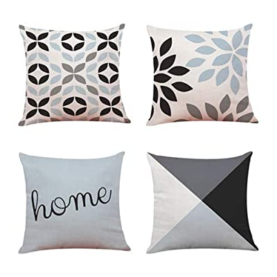 Throw Pillow Covers for Couch,4 Pack,Natural Linen Look Fabric,Modern Geometric Patterns,Decorative Sofa Square Cushion Pillow-Cases,18 x 18 inch,Black