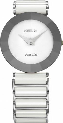 Jowissa Damen-Armbanduhr J5.116.XL, Pyramidenfarben, Edelstahl, weißes Zifferblatt, Mineral-Kristall-Uhr
