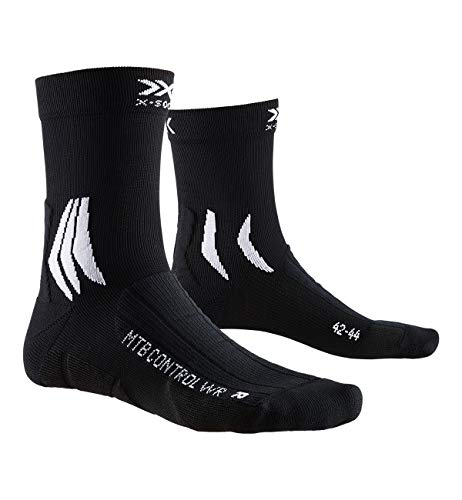 X-Socks Mountain Bike Control Water Resistant Socks, Unisex Adulto, Opal Black/Arctic White, 39-41