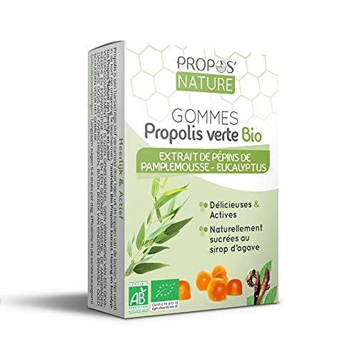 PROPOS'NATURE Gommes à la Propolis Verte Bio Epp Eucalyptus Certifié AB sans Sucres Ajoutés Blanc, 45 g, 1 Unité