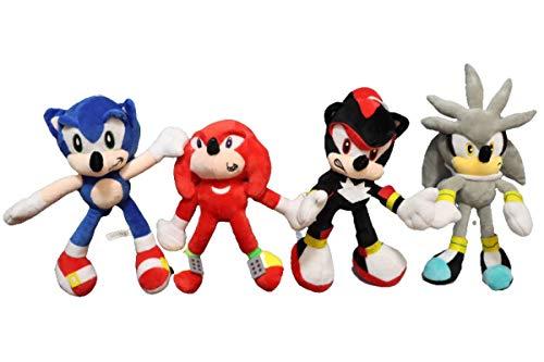 Sonic Stuffed Doll Set 4pcs/lot Sonic World Adventure Plush Sonic Werehog Tails Action Figures Shadow Knuckles Sonic the hedgehog Plush Toys Kids Children Toys