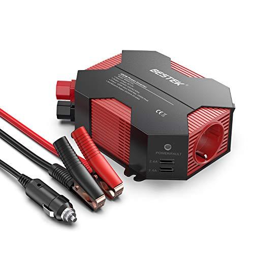 Wechselrichter 12v auf 230v/BESTEK 400W Wechselrichter 12v Steckdose DC 12V auf AC 230V 4 USB Anschlüsse 1 Euro Steckdose, mit Batterieclip und Zigarettenanzünder Stecker