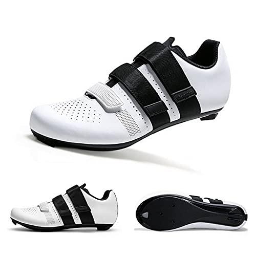 ASORT Calzado de Ciclismo de Carretera para Hombre Calzado de Pelotón Transpirable Calzado de Ciclismo de Interior Compatible SPD Look Delta,White-41EU