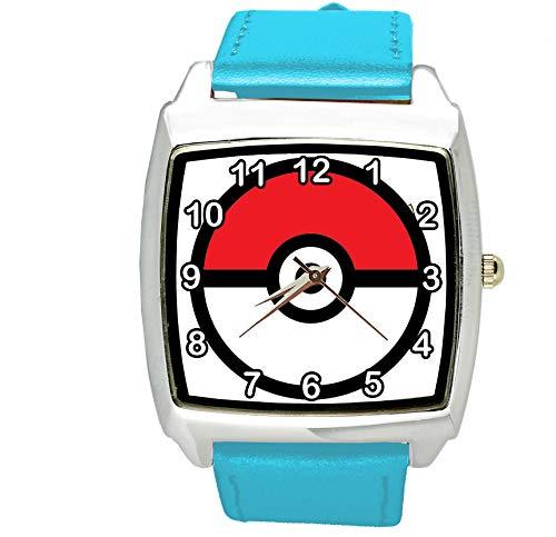 TAPORT® Unisex Uhr Analog Quarzwerk mit Leder Armband Pokemon Blau Quadrat