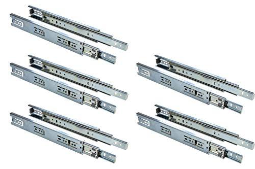 Gedotec Vollauszug 450 mm Teleskopschiene Schubladen-Schienen KTS | Kugelführung Stahl verzinkt | Möbel-Schienen Tragkraft 30 kg | Teleskopauszug kugelgelagert | 5 Paar - Auszüge für Holz-Schubkästen