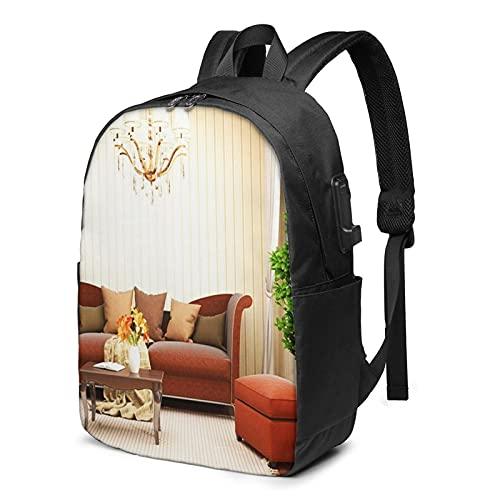 Laptop Rucksack Business Rucksack für 17 Zoll Laptop, Apartment Innen Sofa Schulrucksack Mit USB Port für Arbeit Wandern Reisen Camping, für Herren Damen