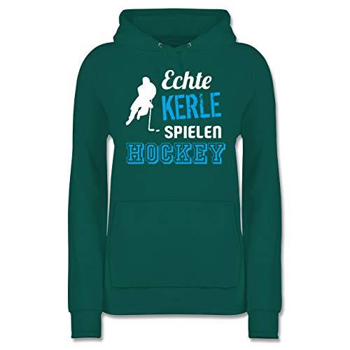 Eishockey - Echte Kerle Spielen Hockey - L - Türkis - JH001F - Damen Hoodie und Kapuzenpullover für Frauen