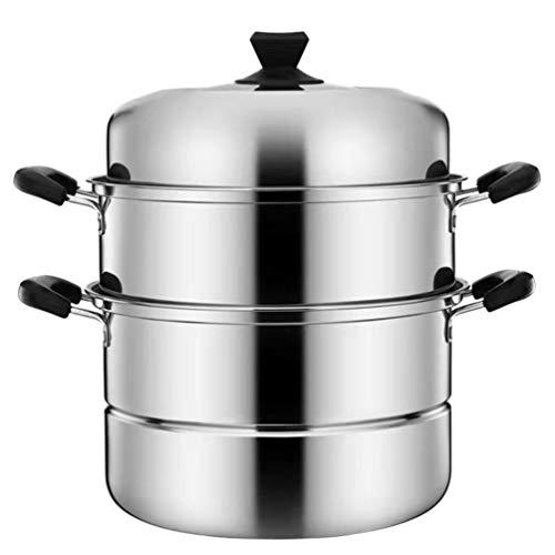 Cabilock Olla de acero inoxidable para cocinar al vapor, olla para sopa, cesta de vapor, 3 capas, olla para vapor, olla china vaporera, olla para verduras, patatas, 28 cm
