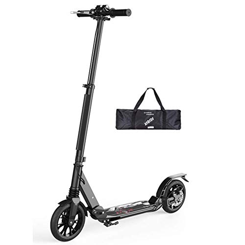 Review Of Adjustable Height Traveling big wheel scooter stack double shock absorption aluminum alloy campus city two rounds adult scooter one button folding disc brakes luxury models modern black (non-electric)