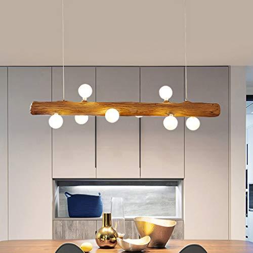 Pendellampe LED Pendelleuchte Aus Holz Rustikal Esstisch Hängeleuchte Moderne Aus Glas Hängelampe 8*G4 Lampenschirm Höhenverstellbar Für Küche Kronleuchter Wohnzimmer Büro Bar Cafedeckenleuchte