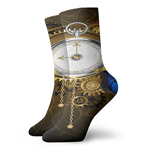 Fodmua Reloj con azul Butterfly60 calcetines de compresión de moda, calcetines deportivos acolchados de poliéster de rendimiento, para correr, atletismo