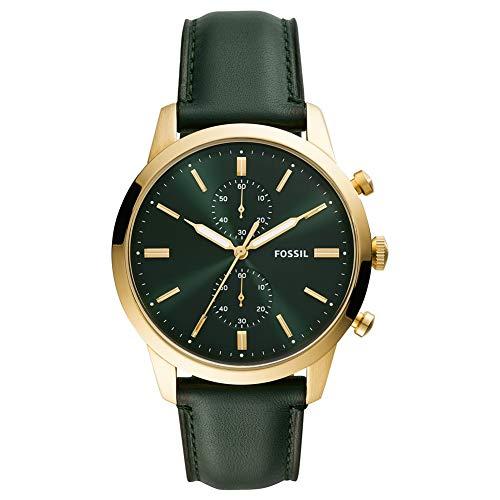 Fossil Herren Analog Quarz Uhr mit Echtes Leder Armband FS5599