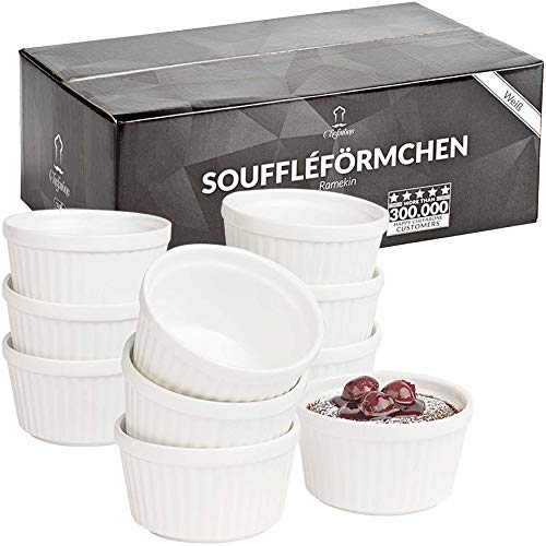 Chefarone Soufflé Förmchen Set spülmaschinenfest - Creme Brulee Schälchen Porzellan zum Backen und Anrichten - Mini Auflaufformen 200 ml - 10er Set weiß (9 x 7.5 x 5 cm)
