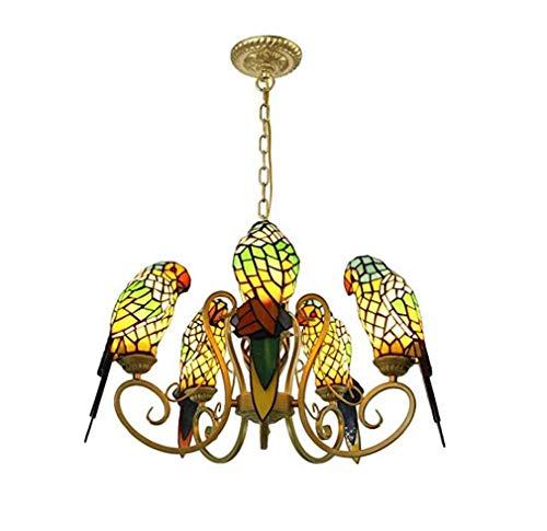 Vintagetiffany Stijl Papegaai Kroonluchters, 5 Lichten In lood Glas Industriële Hanger Verlichting Fixture, Woonkamer Dineren Kamer Keuken Ketting Verstelbare Plafond Hanglamp