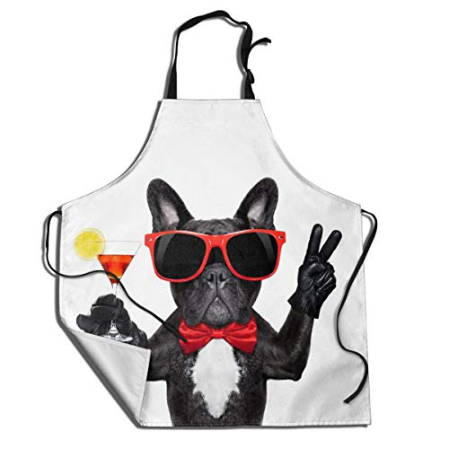 MSGUIDE Cute French Bulldog Holding Cocktail Chef Aprons for Women and Men Water Resistant with Adjustable Neck Extra Long Ties for Kitchen Cooking Bib Grilling BBQ Baking Drawing Crafting Waiter