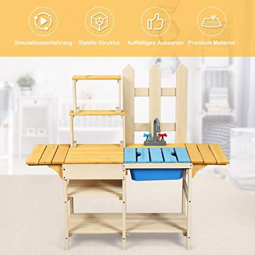 COSTWAY Matschküche mit Wasserhahn, Kinderküche, Outdoor Küche, Holzküche, Spielküche - 3