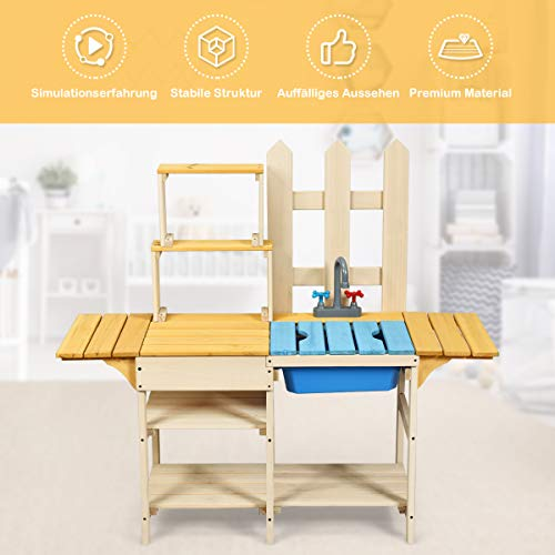 COSTWAY Matschküche mit Wasserhahn, Kinderküche Holz, Outdoor Küche, Holzküche, Spielküche, Spielzeugküche für Kinder ab 3 Jahren, 109 x 38 x 100 cm - 5