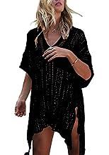 Tuopuda Mujer Pareos Playa Traje de Baño Vestido de la Playa Bikini Cover up Camisola de Playa (Negro)