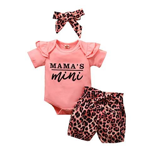 Livingsenburg Baby Mädchen 3er Set Romper Hose Stirnband Kurzarm Mama's Mini, rosa/Leopardenmuster, 70