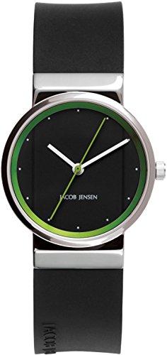 Jacob Jensen Damen Analog Quarz Uhr mit Kautschuk Armband 32767