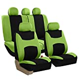 FH Group FB030GREEN115 full seat cover (Side Airbag Compatible with Split Bench Green)