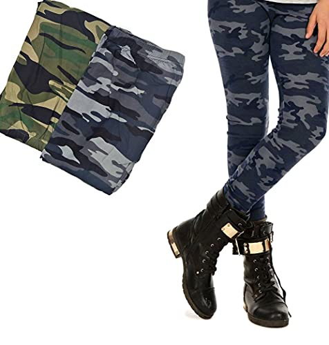 I00S00 Leggings premium para niña, camuflaje, gris, leggins, camuflaje, pantalones para niños, color gris gris 158 cm