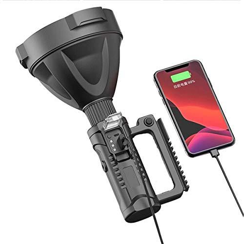 HOOJUEAN Linterna LED P70 Potente Super Brillante 1200 Lumens, USB Recargable 4 Modos Linterna Táctica Alta Potencia Impermeable con trípode Usado para Ciclismo Camping MontañismoP90