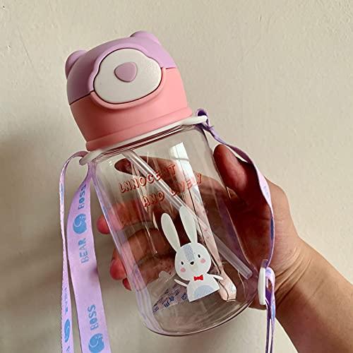 Botella de agua para niños con pajita para niños, 500 ml, sin BPA, tapa con tapa de agua personalizada, para niños y niñas, viajes escolares