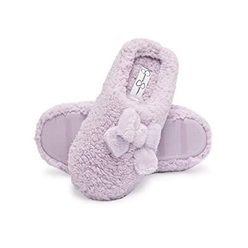 Jessica Simpson Women's Plush Marshmallow Slide On House Slipper Clog with Memory Foam, Purple, Medium