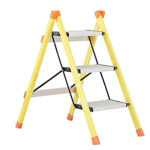 GUOXY Multifunktions-3-Stufen-Kliter Hocker Aluminium-Legierung Trittschemel, Haushalt Küche Tragbares Pedal Leiter Gelb