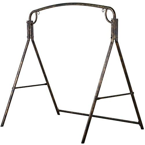 Yaheetech Premium Iron Porch Swing Stand Frame Heavy Duty Outdoor for Gardens/Lawns/Backyards and Patios